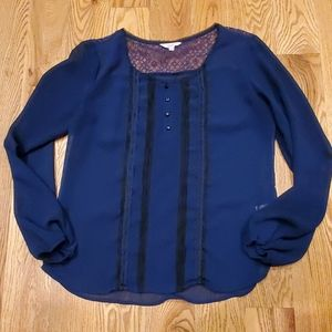 EUC Sheer Blue with Black Lace Candie's Top